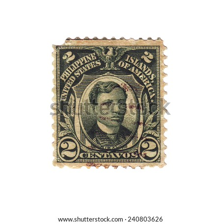 PHILIPPINES - CIRCA 1905: Postage stamp with a picture Jose Rizal, circa 1905 - stock photo