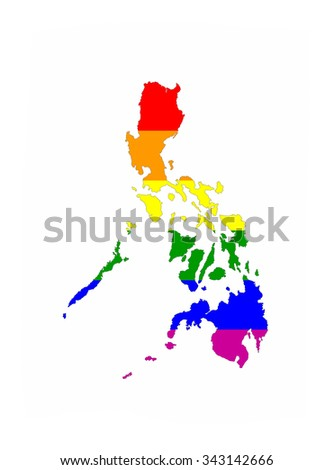 philippines country gay pride flag map shape