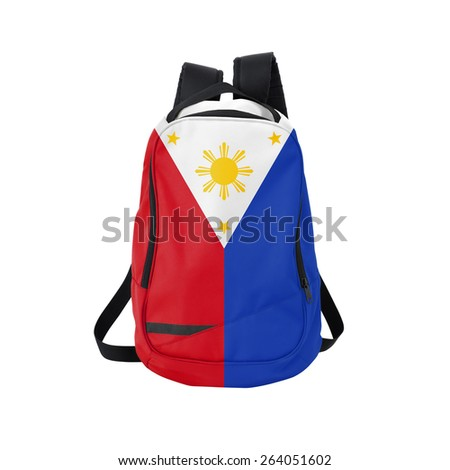 Philippines flag backpack isolated on white background. Back to school concept. Education and study abroad. Travel and tourism in Philippines - stock photo