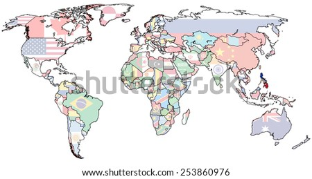 philippines flag on old vintage world map with national borders - stock photo