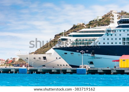 PHILISBURG,ST. MARTEEN - MARCH 14,2011: Cruise ships docked at Philisburg, St. Marteen harbor on a clear sunny day. - stock photo