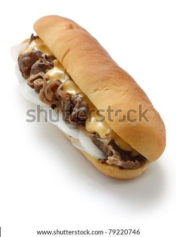 philly cheese steak sandwich isolated on white background - stock photo