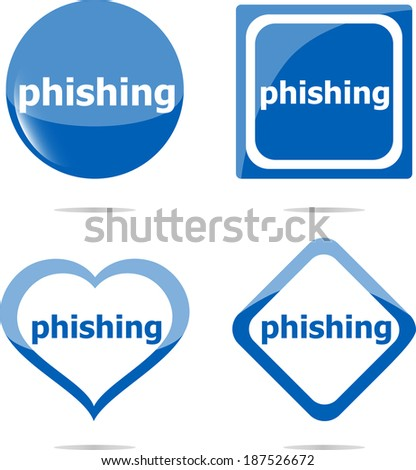 phishing word with lock on stickers set, web icon - stock photo