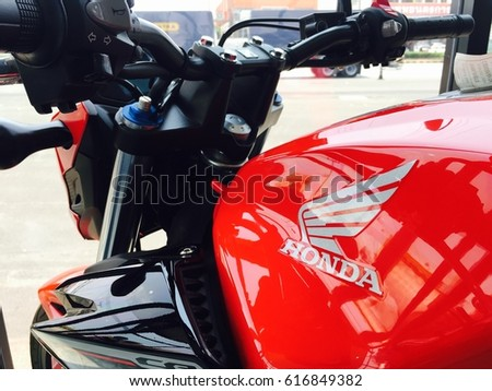 Phitsanulok province, Thailand - April 7, 2017: Close up logo Honda super bike motorcycle model Rebel500 at showroom Honda Big wing Phitsanulok.