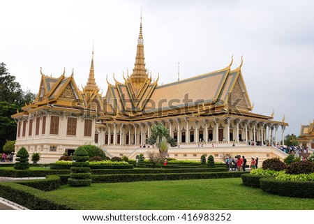 Phnom Penh, Cambodia - April 14th 2016 - Details of the Royal Palace of Cambodia in Phnom Penh, Southeast Asia. - stock photo