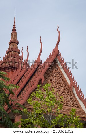 PHNOM PENH, CAMBODIA - NOV 18: National Museum in Phnom Penh, Cambodia. Phnom Penh is the capital and largest city of Cambodia on November 18 2014. Located on the banks of the Mekong River.  - stock photo