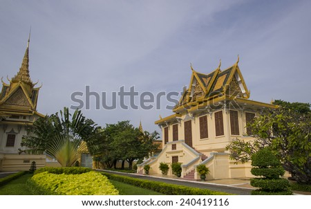 PHNOM PENH, CAMBODIA: NOV 18: The Royal Palace is a complex of buildings which serves as the royal residence of the king of Cambodia on November 18 2014 in Phnom Penh, Cambodia.