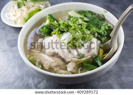 Pho chicken noodle soup. Sliced chicken breasts & thighs - stock photo