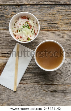 Pho Fast Food To Go on Wood Background - stock photo