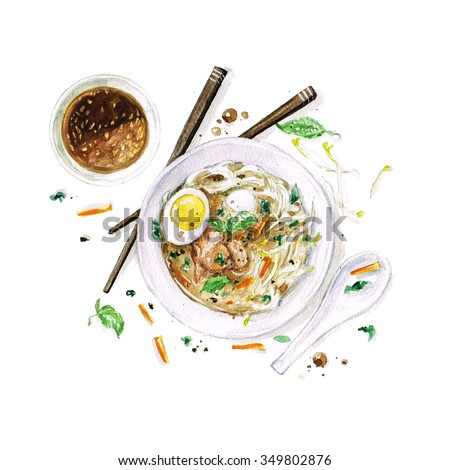 Pho Soup - Watercolor Food Collection - stock photo