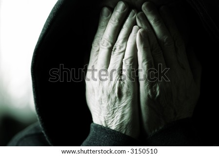 phobia (special toned film photo f/x, focus on center of hands) - stock photo
