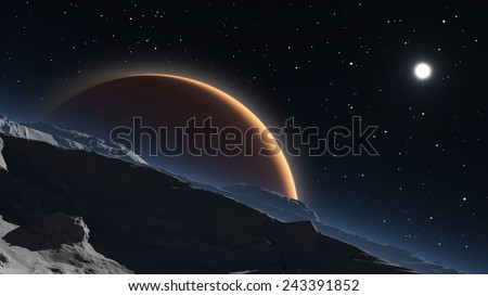 Phobos with the red planet Mars in the background - stock photo