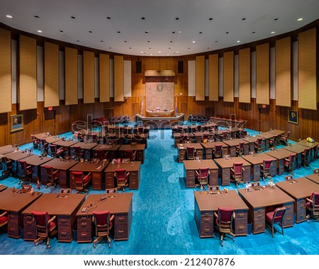 PHOENIX, ARIZONA - AUGUST 6: House of Representatives chamber from the balcony on August 6, 2014 in Phoenix, Arizona - stock photo