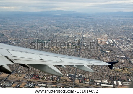 Phoenix Arizona from the Sky Looking Down on the City and the Mountains