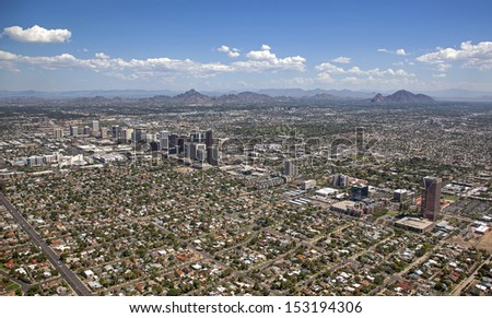 Phoenix, Arizona skyline looking to the northeast including Piestewa Peak and Camelback Mountain