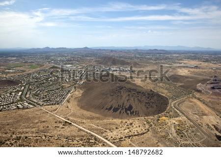 Phoenix, Arizona skyline viewed from above Deer Valley - stock photo