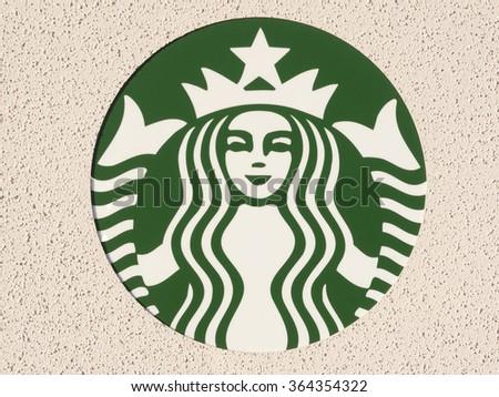 Phoenix, Arizona / USA - January 18, 2016: Starbucks logo. Starbucks Coffee is a very popular brand name in the world. - stock photo