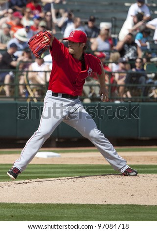 PHOENIX, ARIZONA, USA – MARCH 4: C.J.Wilson of the Los Angeles Angels of Anaheim during his first Spring Training game in Phoenix Arizona on March 4 2012. - stock photo