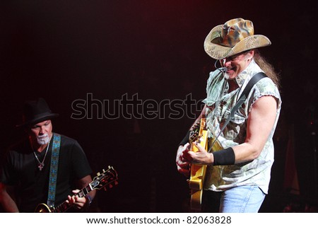 "PHOENIX, AZ - JUNE 28: Ted Nugent, ""The Motor City Madman"" performs for fans at the Celebrity Theatre in Phoenix Arizona on June 28, 2011."