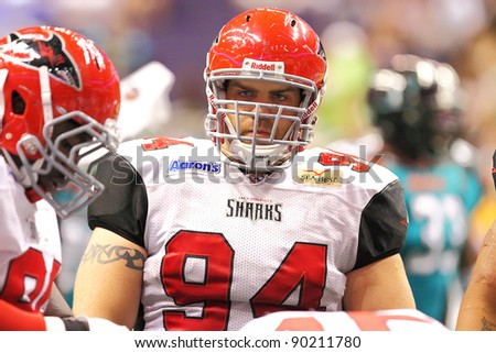 PHOENIX, AZ - MARCH 12: Jacksonville Sharks Randy Degg (94) during Arena Football League action against the Arizona Rattlers at U.S. Airways Center on March 12, 2011 in Phoenix AZ.