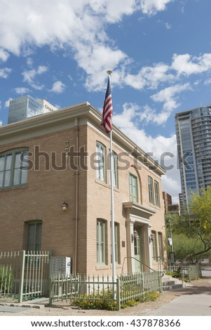 Phoenix, AZ, USA - May 07, 2016: Phoenix elementary school administration building in Phoenix downtown, AZ, USA.