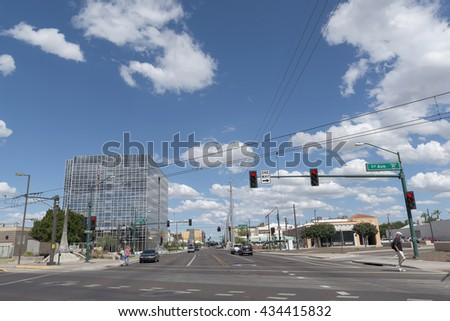 Phoenix, AZ, USA - May 07, 2016: street and modern architecture in Phoenix downtown .