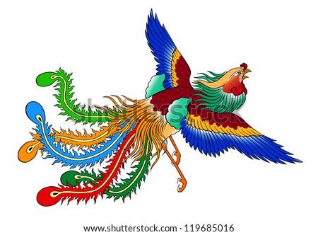 phoenix chinese style on white background - stock photo
