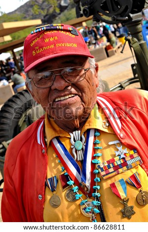 PHOENIX - DEC. 13: Keith Little, an original Navajo Code Talker, attends VA event at South Mountain Park on Dec 13, 2008.  Navajo Code Talkers sent secret communications on battlefields of WWII.
