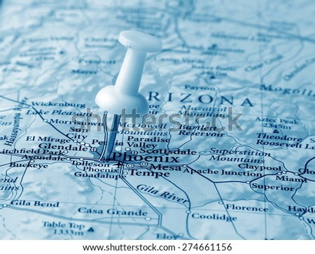 Phoenix destination in the map - stock photo