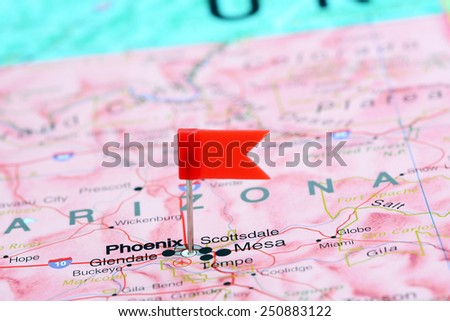 Phoenix pinned on a map of USA  - stock photo