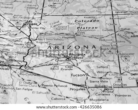 Arizona Map Stock Images RoyaltyFree Images Vectors Shutterstock - Arizona map state