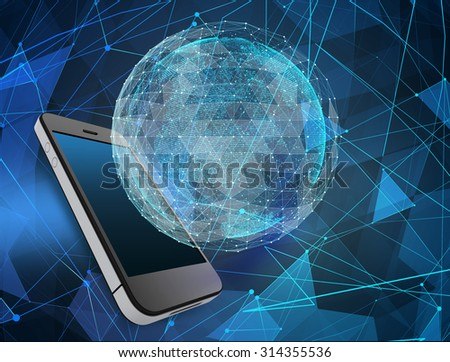 Phone and abstract map of the global telecommunications network. - stock photo