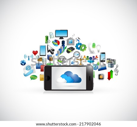 phone and cloud computing icons illustration design over a white background