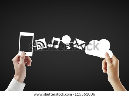 phone and cloud, social media concept - stock photo