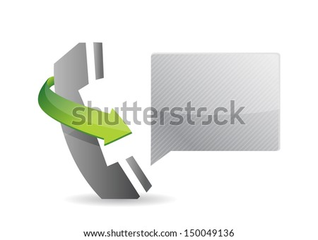 phone and communication bubble illustration design over white - stock photo