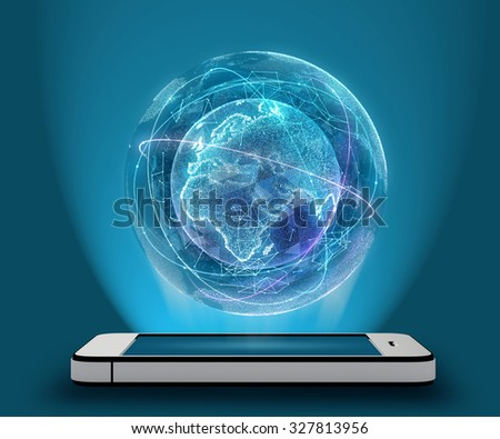 Phone and Digital Globe surrounded by a virtual data network. - stock photo