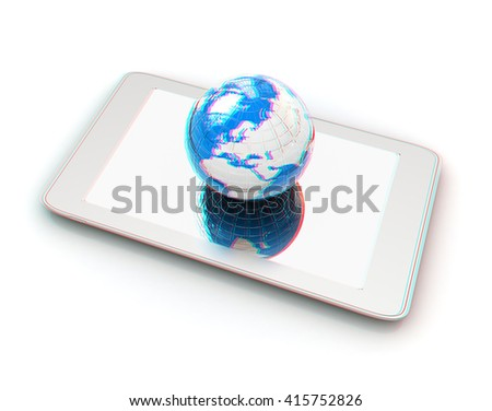 Phone and earch on white background.Global internet concept. 3D illustration. Anaglyph. View with red/cyan glasses to see in 3D. - stock photo