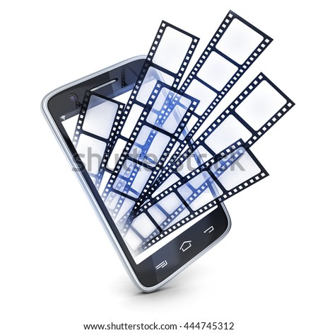 Phone and films on white background (done in 3d rendering)