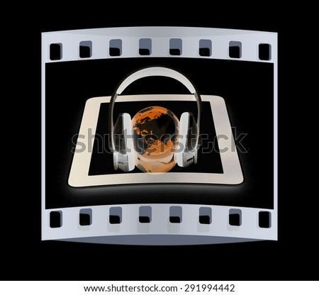 phone and headphones.Global on a black background. The film strip - stock photo