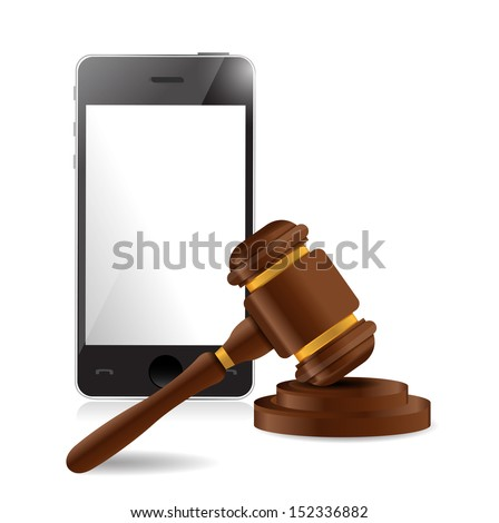 phone and law hammer illustration design over a white background - stock photo