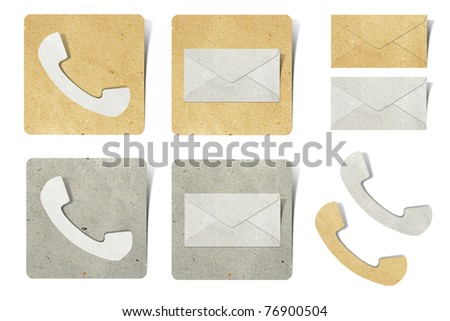 phone and  mail tag recycled paper craft stick on white background - stock photo