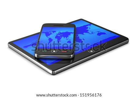 phone and tablet on white background. Isolated 3D image - stock photo