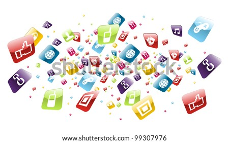 Phone application icons explotion on white background. - stock photo