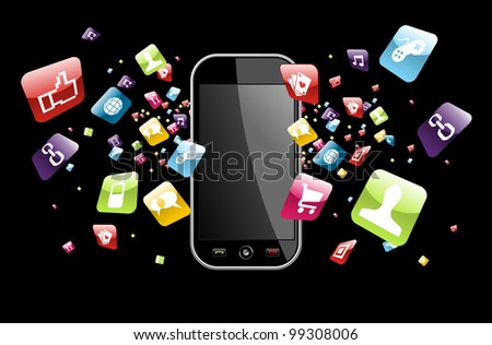 Phone application icons splash out of phone on black background. - stock photo