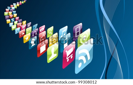 Phone application store icons on blue background. - stock photo