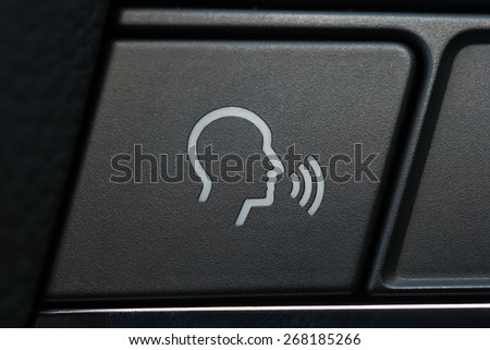 phone button in the car, car interior details - stock photo