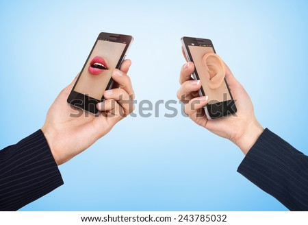 Phone cell concept. Man's hand holding phone with speaking woman's mouth in display and woman hand holding phone with ear in the screen. - stock photo