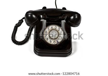 phone classic early twentieth century on white background - stock photo