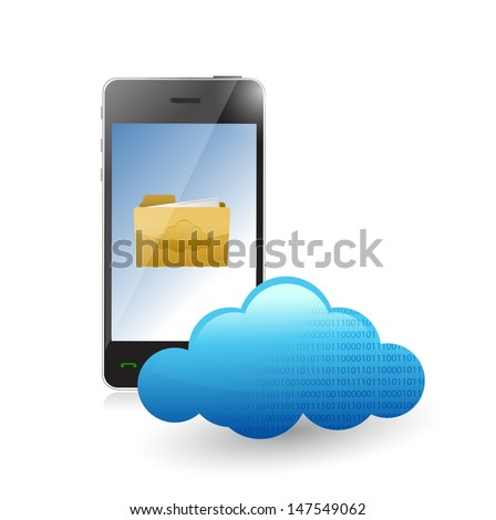 phone cloud communication accessible to files. illustration design over white