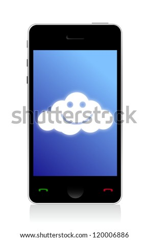 phone connected to a happy cloud illustration design over white